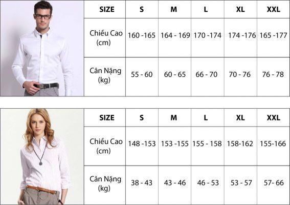 Chiều cao cân nặng chuẩn của nữ để chọn size