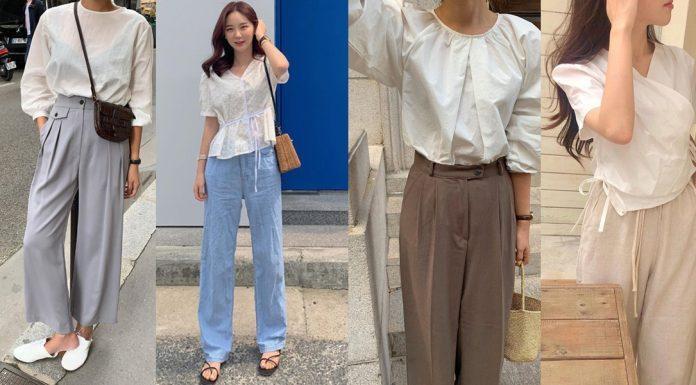 Áo blouse + quần ống suông